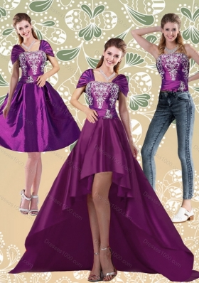 High Low Embroidery Dark Purple Detachable Prom Skirts for 2015