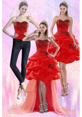 Red Strapless 2015 Detachable Prom Skirts with Appliques and Pick Ups