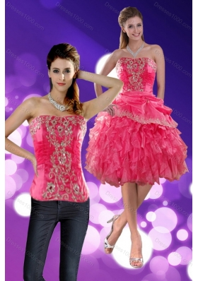Strapless 2015 Detachable Prom Skirts with Appliques and Ruffles