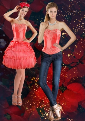 Strapless 2015 Detachable Prom Skirts with Beading and Pick Ups