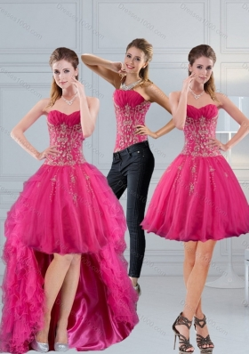 Sweetheart Hot Pink 2015 Detachable Prom Skirts with Appliques