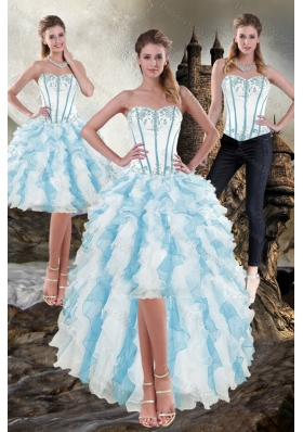 Sweetheart White and Blue 2015 Detachable Prom Skirts with Appliques and Ruffles