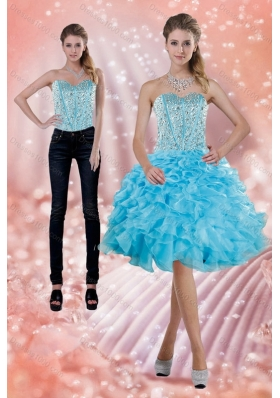 2015 Baby Blue Detachable Prom Skirts with Beading and Ruffles