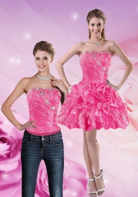 2015 Strapless Hot Pink Detachable Prom Skirts with Beading and Ruffles