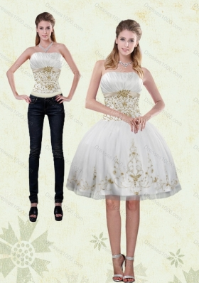 2015 Strapless Knee Length White Detachable Prom Skirts with Appliques