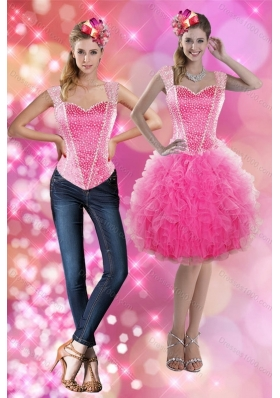 2015 Straps Beading and Ruffles Short Detachable Prom Skirts in Pink