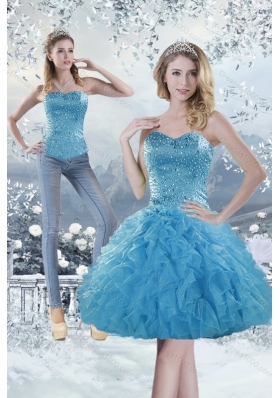 2015 Sweetheart Aqua Blue Detachable Prom Skirts with Beading and Ruffles