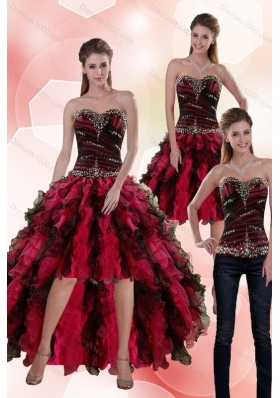 2015 Sweetheart Multi Color Detachable Prom Skirts with Beading and Ruffles