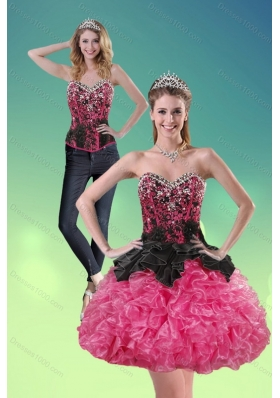 2015 Sweetheart Multi Color Detachable Prom Skirts with Ruffles and Beading