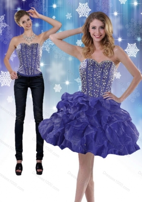 2015 Sweetheart Purple Detachable Prom Skirts with Beading and Ruffles