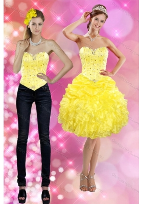 2015 Sweetheart Yellow Detachable Prom Skirts with Beading and Ruffles