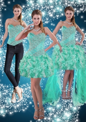 Apple Green Sweetheart Beading Beautiful Detachable Prom Skirts for 2015
