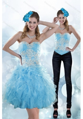 Appliques and Ruffles Sweetheart Aqua Blue Detachable Prom Skirts for 2015