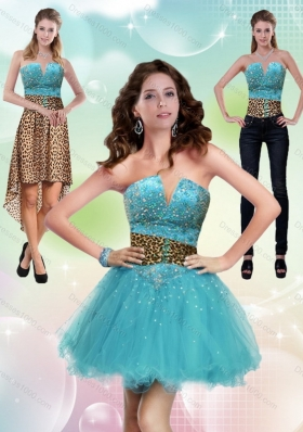 Aqua Blue Leopard Printed 2015 Detachable Prom Skirts with Beading