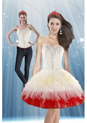 Perfect 2015 White and Red Prom Dress with Beading and Ruffled Layers