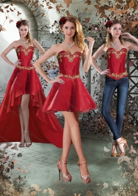 Sweetheart Embroidery Detachable Prom Skirts Dress for 2015