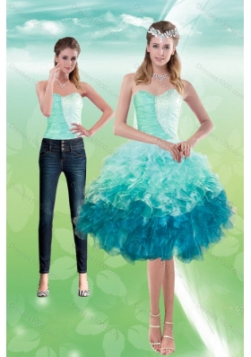 Sweetheart Multi Color 2015 Detachable Prom Skirts with Beading and Ruffles
