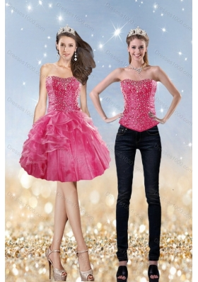 2015 Strapless Coral Red Prom Dress with Beading and Ruffles