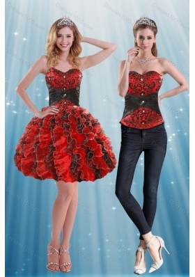 Multi Color Sweetheart Prom Dress with Appliques and Ruffles