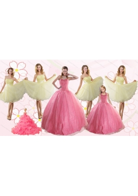 Rose Pink Beading Ball Gown Quinceanera Dress and Strapless Knee Length Dama Dresses and  Halter Top Little Girl Dress