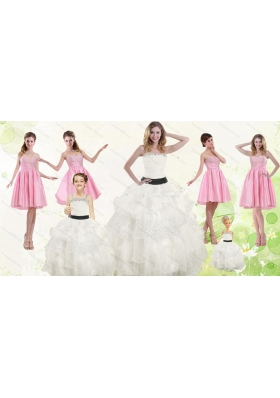 White Strapless Beading Quinceanera Dress and Baby Pink Short Beading Prom Dresses and  Affordable Little Girl Pageant Dress with Beading and Ruffles