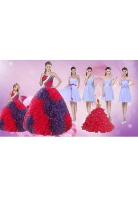 Elegant Multi Color Floor Length Quinceanera Dress and Ruching Short Dama Dresses and  Multi Color Halter Top Little Girl Dress