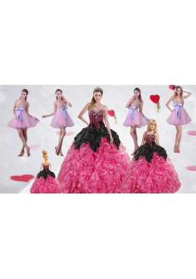 Multi Color Sweetheart Ruffles and Beading Dress for a Quinceanera and Sweetheart Bowknot Short Prom Dresses and Straps Multi Color Girl Pageant Dress