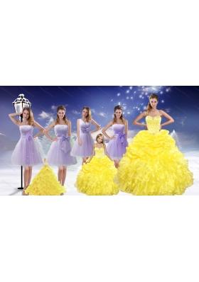 Yellow Sweetheart Beading Ruffles Quinceanera Dress and Lavender Short Dama Dresses and  Beading Ruffles Little Girl Dress
