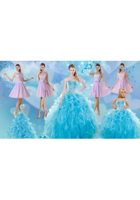 Baby Blue Ball Gown Ruffles Quinceanera Dress and Lilac Short Dama Dresses and Applique and Ruffles Little Girl Dress