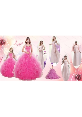 Beading and Ruffles Ball Gown Quinceanera Dress and Long Dama Dresses and  Beading and Ruffles Little Girl Dress