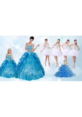 Beading and Ruffles Quinceanera Dress and Rhinestones White Short Dama Dresses and Spaghetti Straps Embroidery Little Girl Dress
