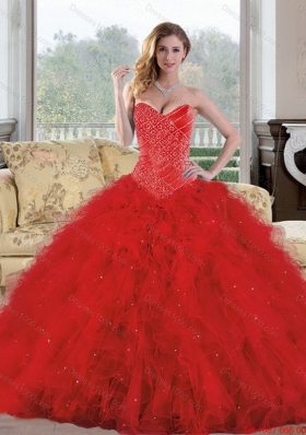 2015 Exquisite Sweetheart Red Quinceanera Dresses with Appliques and Ruffles