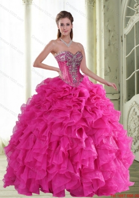 2015 New Style Beading and Ruffles Sweetheart Quinceanera Dresses in Hot Pink