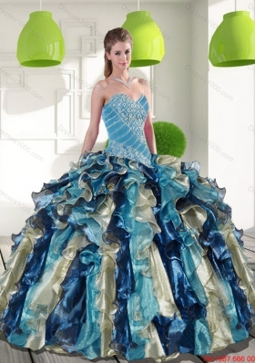 Fashionable Multi Color Quinceanera Dresses with Beading and Ruffles for 2015