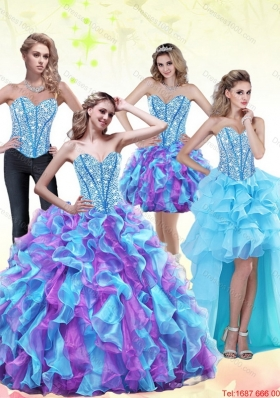 2015 Designer Beading and Ruffles Sweetheart Quinceanera Dresses in Multi Color