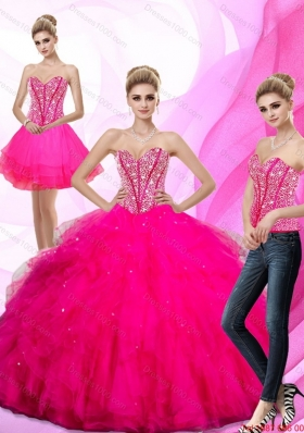 Fashionable 2015 Beading and Ruffles Sweetheart Quinceanera Dresses