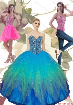 Most Popular Beading Sweetheart Tulle Quinceanera Dresses in Turquoise