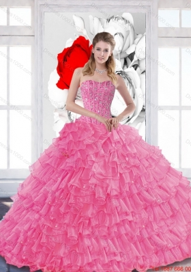 Vestidos de Quinceanera with Beading and Ruffled Layers