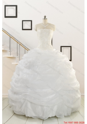 Puffy White Beading Quinceanera Dresses for 2015