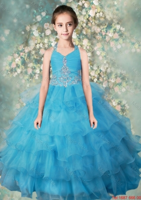 2015 Winter Pretty Halter Top Mini Quinceanera Dresses with Beading and Ruffled Layers