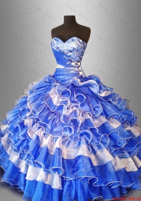 2015 Sweet Beaded and Ruffles Quinceanera Gowns in Organza