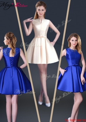 Beautiful Short Bateau Prom Dresses with Bowknot and Beading