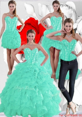 2015 Summer Pretty Ruffles and Beaded Quinceanera Dresses in Apple Green