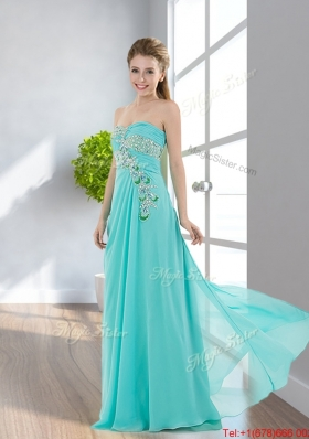 2016 Elegant Empire Floor Length Applique Prom Dresses with Beading