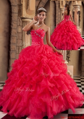 2016 Popular Coral Red Sweetheart Quinceanera Gowns with Beading