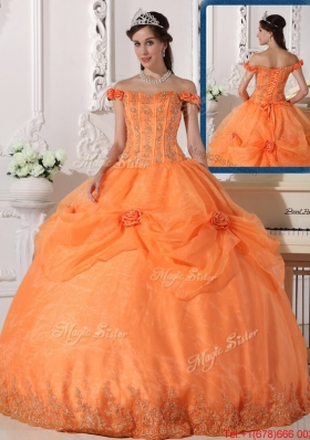 Best Off The Shoulder Sweet 16 Dresses with Appliques and Hand Made Flowers