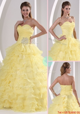 Designer Sweetheart Quinceaners Gowns with Appliques and Ruffled Layers