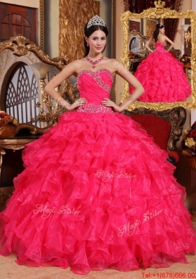 Latest Coral Red Ball Gown Floor Length Quinceanera Dresses