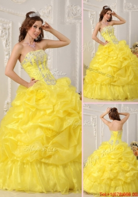 Most Popular Yellow Quinceanera Dresses with Beading and Ruffles