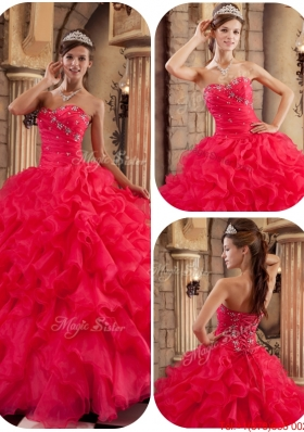 New Arrivals Coral Red Ball Gown Floor Length Ruffles Quinceanera Dresses